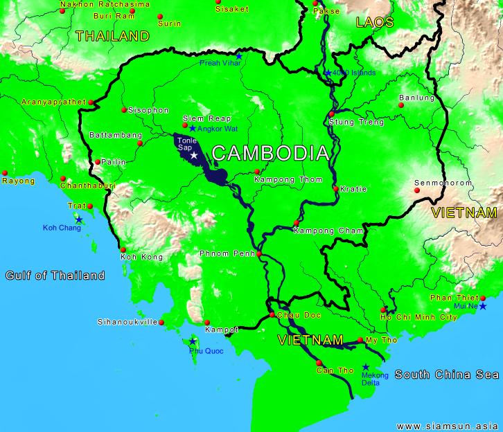 Kambodscha Karte.Landkarte Kambodscha Siam Sun Tours