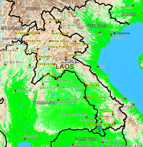 Laos Karte.Landkarte Laos Siam Sun Tours
