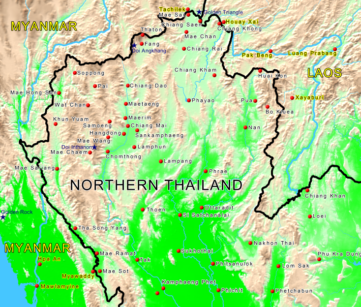 Map of Northern Thailand - Siam Sun Tours