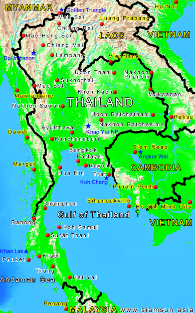 karte thailand Karte Thailand   Siam Sun Tours