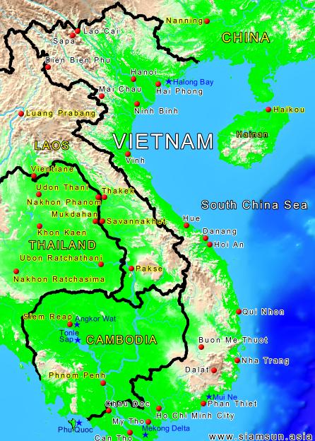 vietnam karte Landkarte Vietnam   Siam Sun Tours